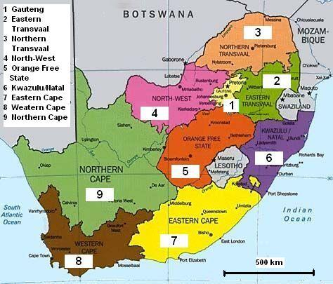 Map Of South Africa Showing 9 Provinces.Tsat